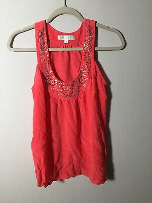 AU19.85 • Buy Forever New Womens Silk Pink Beaded Cami Tank Top Singlet Size 8 Sleeveless