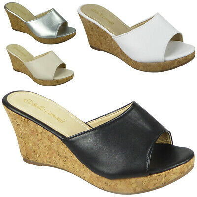 £12.99 • Buy Sandals Ladies High Heel Wedges Open Toe Party Womens Summer Slip On Comfy Size