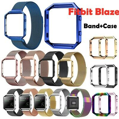 AU11.12 • Buy Milanese Stainless Steel Magnetic Loop Band Frame Case For Fitbit Blaze Tracker