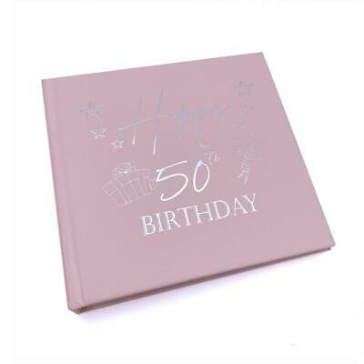 £14.49 • Buy 50th Birthday Gift For Her Pink Photo Album With Silver Present Script