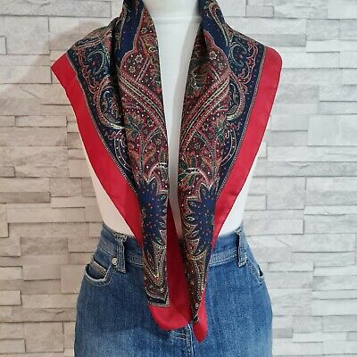 £8.99 • Buy TIE RACK 'Art Of The Scarf' Red/Blue Patterned Square Neck Scarf Made In Italy