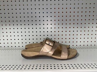 £36.30 • Buy Vionic Orthaheel Skylar Womens Leather Strappy Sandals Slides Size 9 WIDE Beige