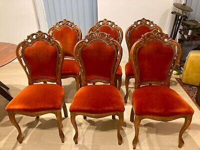 AU350 • Buy Antique Red Rust Velvet Dining Chairs Set