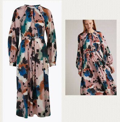 £28 • Buy Marks And Spencer Autograph Floral Abstract Print Midaxi Waisted Dress 12 Bnwt