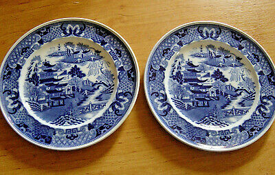 £16.99 • Buy A Pair Of Minton Willow Pattern Cabinet Plates C.1923