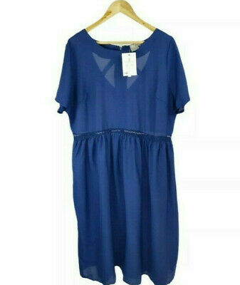 AU24.95 • Buy Asos Navy Blue Loose Fit Flare Dress Plus Size UK 22 Party Evening Casual