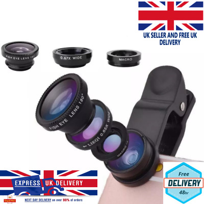 £9.95 • Buy 3 In 1 Mobile Camera Lens Fish Eye Wide Angle Macro Clip Set For Samsung IPhone