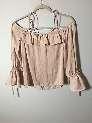 AU22.05 • Buy Forever New Womens Nude Off Shoulder Blouse Top Size 8 Long Sleeve