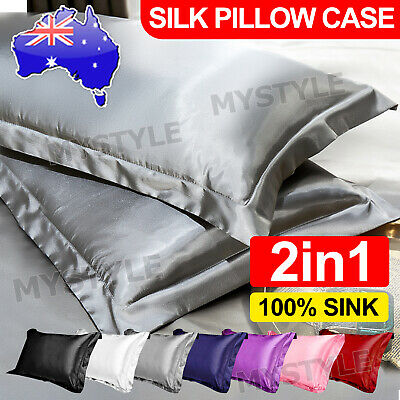 AU8.95 • Buy 2in1 Silk Satin Pillow Cases Cover Solid Standard Bedding Smooth Soft PillowCase