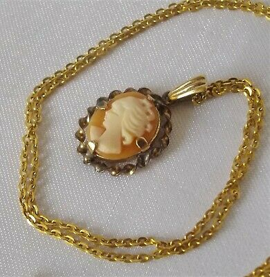 £8.99 • Buy Vintage Rolled Gold Cameo Pendant & Gold Plated Chain