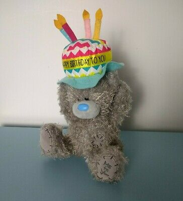 £9.99 • Buy Me To You Bear Happy Birthday Teddy Cake Candle Hat Present Gift Soft Plush Toy