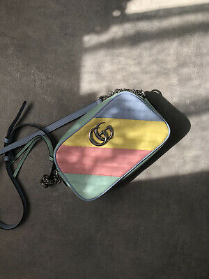 AU2039.92 • Buy Gucci GG Marmont Leather Bag Rainbow Blue Pink Yellow With Chain Pastel Colorful