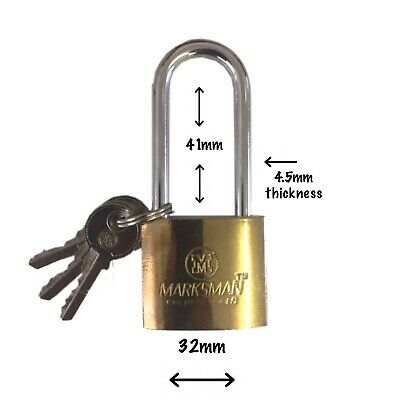£3.38 • Buy 32mm PADLOCK LONG SHACKLE BRASS LOCK SECURITY LOCKER CHEST HASP SHED WITH 3 KEYS