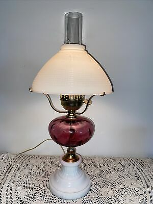 $74.99 • Buy Vintage WHITE MILK GLASS HURRICANE LAMP WITH CRANBERRY GLASS   CENTER GLOBE