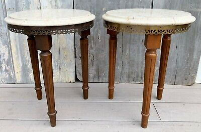 $395 • Buy Vintage Pair French Louis XVI Round Mahogany & Marble Tables W/ Brass Gallery