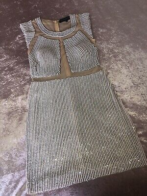 £170 • Buy £700 Forever Unique Mirage Dress Pearl Beaded Nude Mesh Dolls Jovani House UK 8