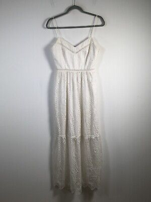 AU24.95 • Buy Forever New Womens Dress Size 8 Maxi White Broderie Fit Flare Sleeveless V Neck