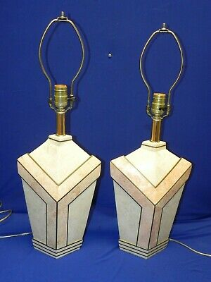 $300 • Buy Vintage Maitland Smith Tessellated Marble Fossil Stone Art Deco Table Lamps