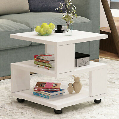 £19.99 • Buy White 2Tier Coffee Tea End Table Side Sofa Night Stand For Living Room Furniture