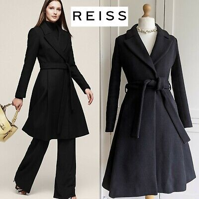 £109.99 • Buy Reiss Halle Black Wool Fit Flare Belted Princess Dress Coat Uk 10 12 Us 6 Small
