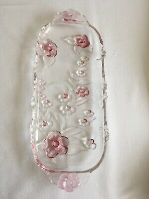 £15.99 • Buy Heavy Cut Glass Serving Tray/Dressing Table Trinket Tray With Pink Flowers