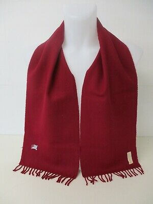 $27.80 • Buy BURBERRY SCARF, 100% Lambswool, Plain Deep Red, Embroidered Logo, 58  X 10