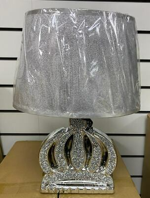 £24.99 • Buy New Crushed Diamond Silver LED Table Lamp Flower Style With Shade Glitter Romany