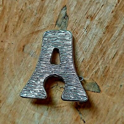 £9 • Buy Vtg Retro Brooch Pin Quirky Costume Jewellery Silver Colour Letter A Bark Effect