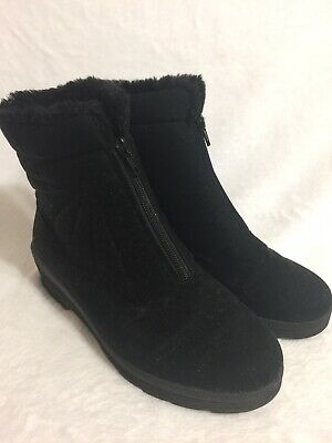 £20.85 • Buy Sympatex Rohde Black Boots Fur Lined Wedge Heel Size 39 Germany
