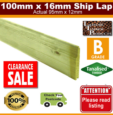 £686.88 • Buy 100mm X 16mm Shiplap Timber Cladding 90 Boards 4.8m See Postcodes Tanalised