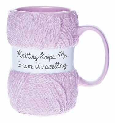 £12.99 • Buy 'Knitting Keeps Me From Unravelling' Knitting Yarn Mug | Great Knit Gift For Her