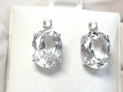 AU67.34 • Buy White Sapphire Earrings 925 Sterling Silver Stud Post USA Made