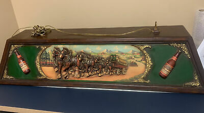 $ CDN1258.85 • Buy Vintage Budweiser Pool Table Light With 3-D Clydesdale Horses RARE & NICE!!!