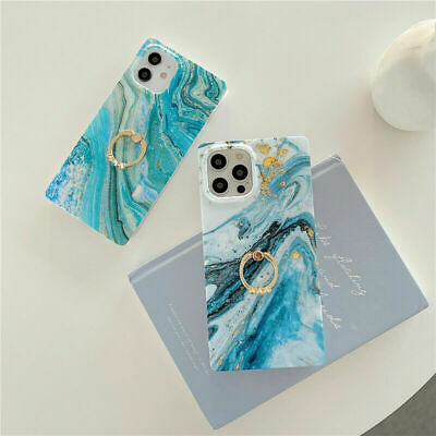 AU7.99 • Buy Square Marble Phone Case Cover For IPhone 12 11 Pro 7 8 + XS XR With Ring Holder