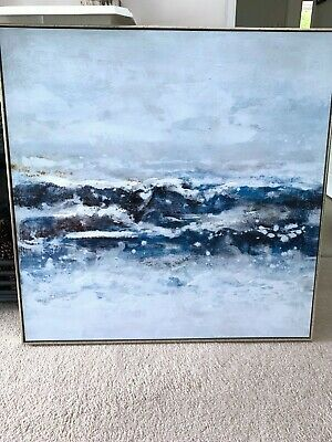 £120 • Buy Large Modern Contemporary Abstract Blue Ocean Waves Framed Painting