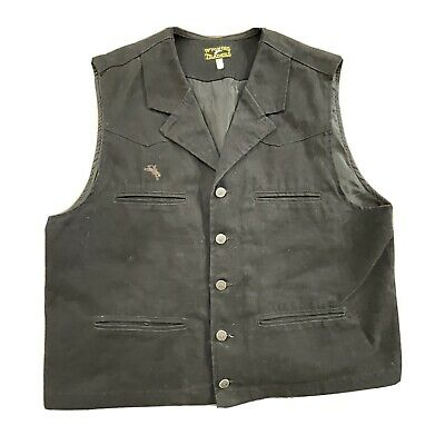$29.95 • Buy Wyoming Traders Western Mens Black Cotton Button Front Lined Vest Size Lg
