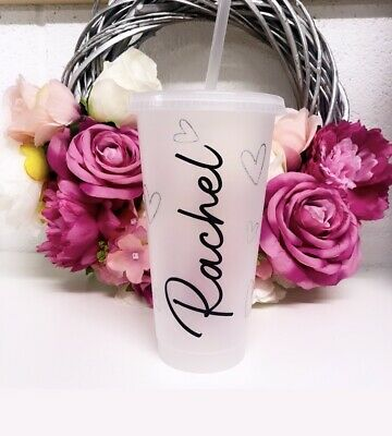 £8.99 • Buy Personalised Frosted Named Plastic Tumbler // Reusable Cold Cup // 24oz