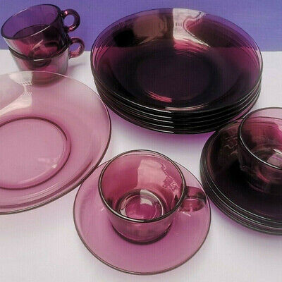 £24 • Buy Vereco Glass Vintage Purple Amythyst French Set Cups Saucers Bowls Coffee Retro