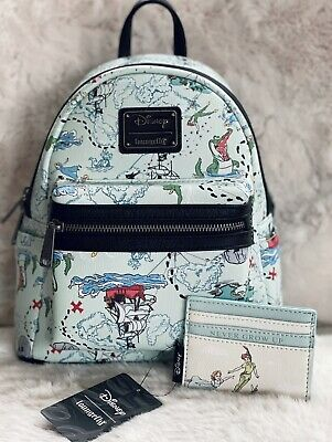 £200.04 • Buy !NEW Disney Loungefly Peter Pan Map Blue Mini Backpack NWT!