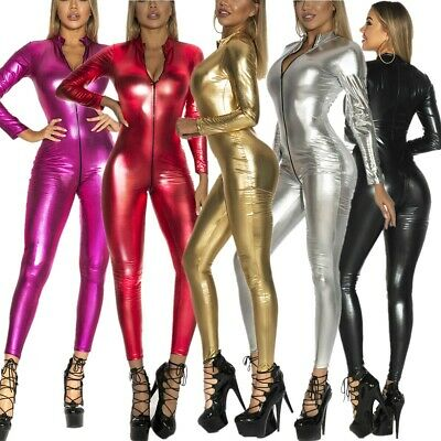 £15.79 • Buy Zip Crotch Catsuit Sexy Women PVC Leather Wet Look Jumpsuit Overalls One-piece