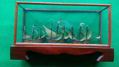 £19 • Buy 3 - 3 Masted Sailing Ships ( Greek ) In Wood & Glass Case 10.3 H  X 17.8 Cm L