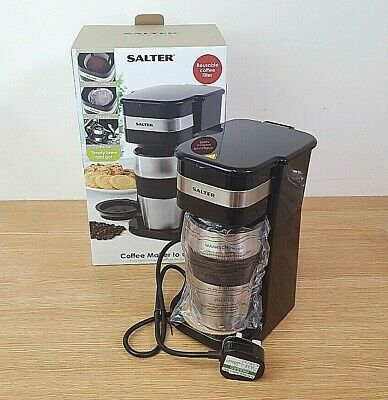 £12.99 • Buy Salter Coffee Maker To Go 420ml 700W Personal Filter Coffee Machine Black Silver