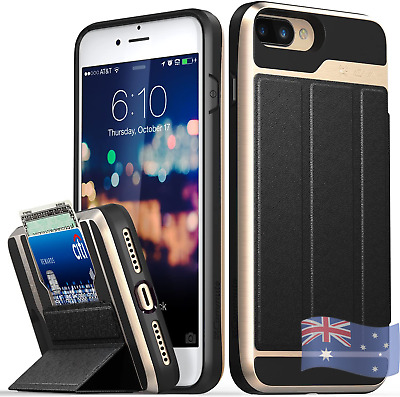 AU43.89 • Buy Iphone 8 7 Plus Wallet Case Military Grade Drop Protection Card Slot Holder With