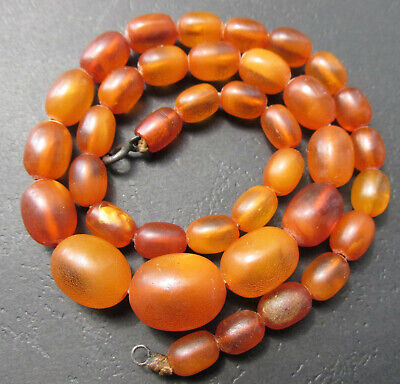 £281.20 • Buy Antique Natural Butterscotch Egg Yolk Baltic Amber Beads Necklace 22.7g.