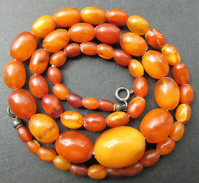 £173.05 • Buy Antique Natural Butterscotch Egg Yolk Baltic Amber Beads Necklace 11.6g.