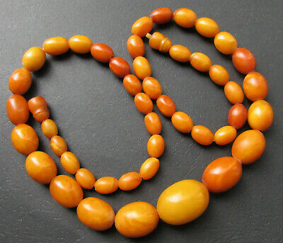 £1802.58 • Buy Antique Natural Butterscotch Egg Yolk Baltic Amber Beads Necklace 55.7g.