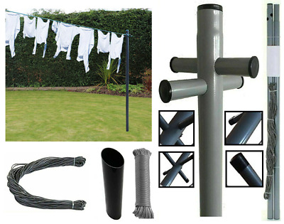 £23.99 • Buy Galvanised Post Line Laundry Airer 30M PVC Dry Pole Washing Line 2.4M/8ft Dryer