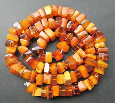 £122.58 • Buy Antique Natural Butterscotch Egg Yolk Baltic Amber Beads Necklace 36g.