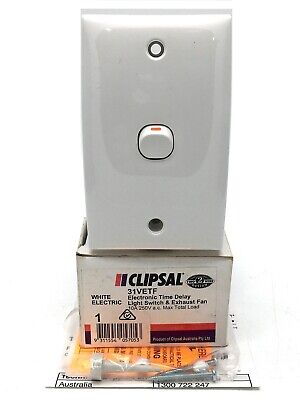 £50.20 • Buy Clipsal 31VETF Electronic Time Delay Light Switch & Exhaust Fan 10A 250Va.c. Whi