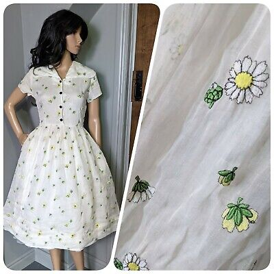 £124.99 • Buy Vtg 1950s Horrockses Embroidered Daisy Organza Cotton Circle Dress 50s S 8 36